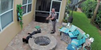 The video shows a Florida soldier using a stun gun in front of his girlfriend's house