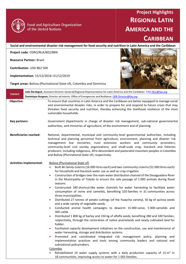 Project highlights: Social and environmental disaster risk management for food security and nutrition in Latin America and the Caribbean (OSRO / RLA / 602 / BRA) - Bolivia (Plurinational State of)