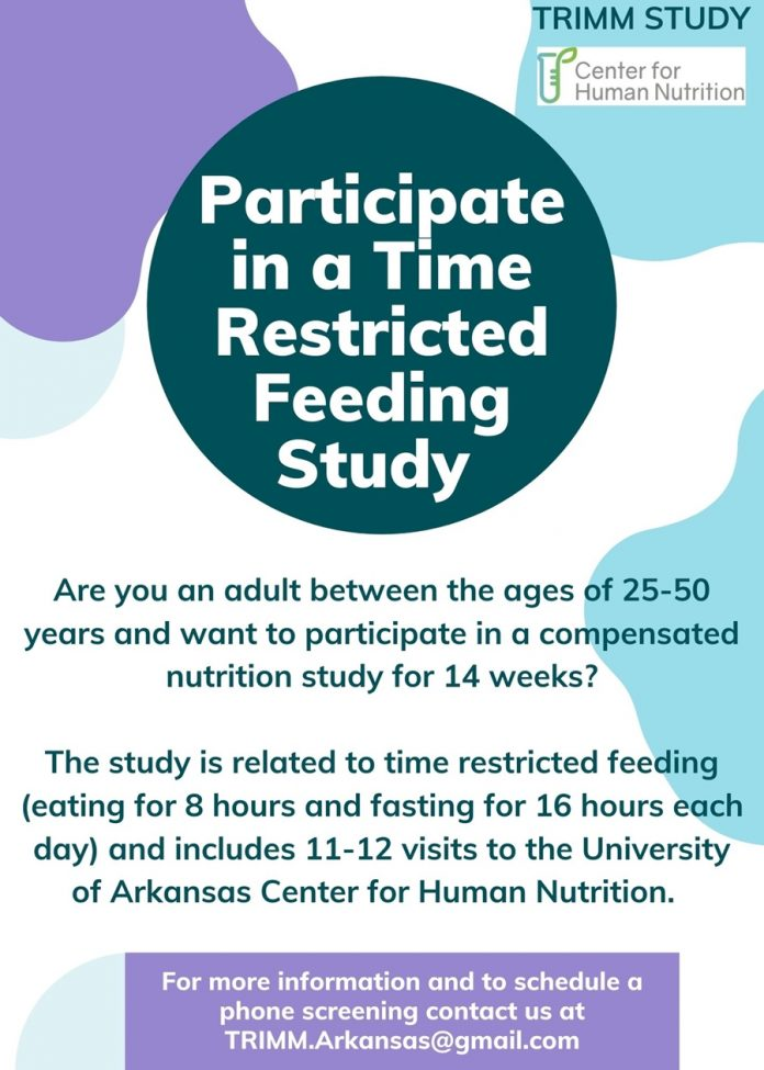 Take part in a limited time feeding, nutrition and health study