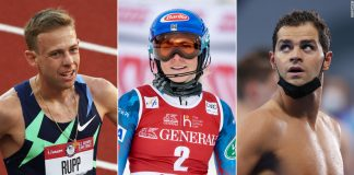 Pictured are current Olympians Galen Rupp (left) and Michael Andrew (right), and past Olympian Mikaela Shiffrin (middle).