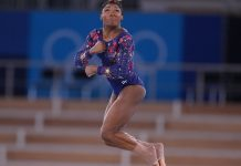 Simone Biles does tough (for her) floor exercise at the Olympics