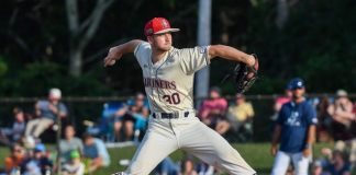 Harwich Mariners starter Eric Reyzelman will face the Brewster Whitecaps at Whitehouse Field in Harwich on Sunday.  Reyzelman pitched five innings, allowing four hits and two runs, walking one, and knocking out seven.