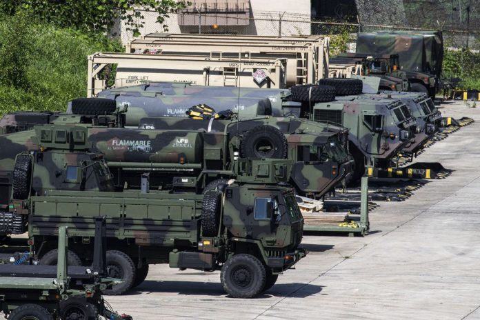 This photo taken on Thursday, shows vehicles of the US Forces Korea (USFK) being parked at Camp Casey in Dongducheon, Gyeonggi Province. (Yonhap)