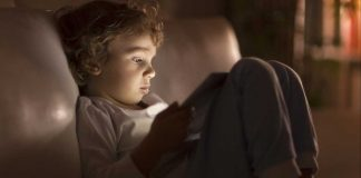 It's hard to convince your child to keep the screen on for exercise.  That's how it's done