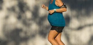 Exercising regularly during pregnancy helps newborn babies develop stronger lungs and fight off asthma, research shows (file image)