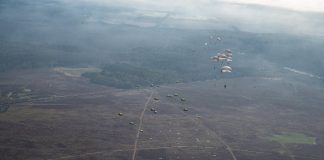US airmen participate in parachute training exercise in Netherlands