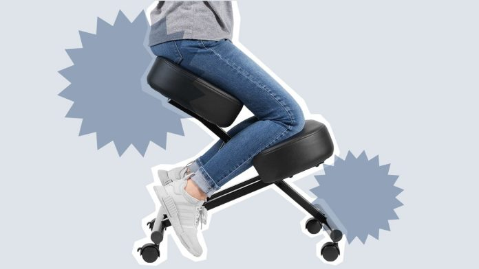 Kneeling ergonomic desk chair for back pain relief and posture relief