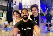 Varun Dhawan does backbend yoga with Janhvi Kapoor in Malaika Arora's studio: boys do yoga too |  Bless you