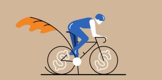 Illustration of a person on a bicycle with dollar signs as the spokes.